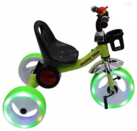 Trident Tricycle With Music And Sparkling Led Lights On Wheels (green)