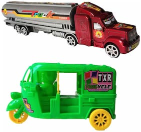 Truck and Auto Pull and Back Toy Combo for Kids