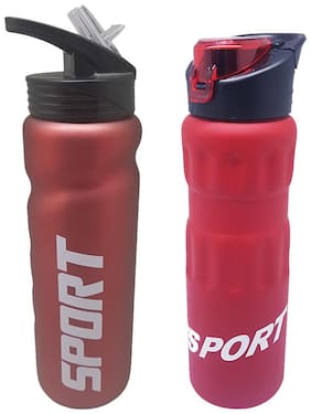 Tuelip Combo Of Stainless Steel Durable Sports Water Bottle for College,School,Gym Bottle 750 ml- Red (Set of 2)