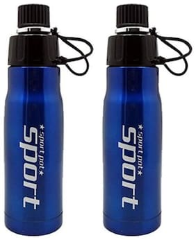 Tuelip combo of 2 Sporty Look For Sports Gym Bike Riding Hiking Mountain Climbing 700Ml Water Bottles - Blue