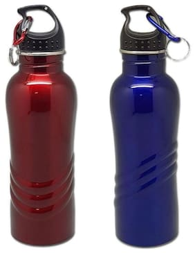 Tuelip Combo of 2 Stainless Steel Sports Water Bottle With Sporty Look For Sports Gym Hiking 750 ml Blue-Red