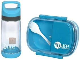 Tuelip Lunch Box Set With Water Bottle For School Going Kids Girls & Boys 3 Containers Lunch Box Blue