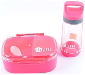 Tuelip Lunch Box Set With Water Bottle For School Going Kids Girls & Boys 3 Containers Lunch Box Pink