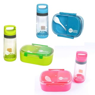 2df2fa3e873 Tuelip Lunch Box Set With Water Bottle For School Going Kids Girls   Boys 3  Containers