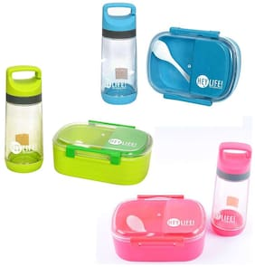 Tuelip Lunch Box Set With Water Bottle For School Going Kids Girls & Boys 3 Containers Lunch Box (Color Assorted) 1 Lunch Box set with Water Bottle
