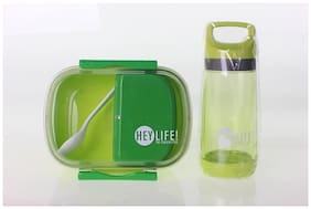 Tuelip Lunch Box Set With Water Bottle For School Going Kids Girls & Boys 3 Containers Lunch Box Green