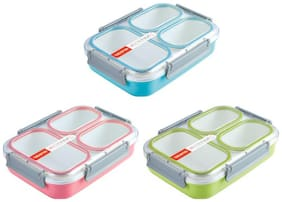 Tuelip Plastic Grid Lunch Box With 3 in 1 Slots Leak Proof Durable (1.35 LTR) 3 Containers Lunch Box (Color Assorted)