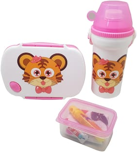 Tuelip Return Gift Combo Set or Lunch Box, Water Bottle With Bag For School Going Kids Girls & Boys (Pink)