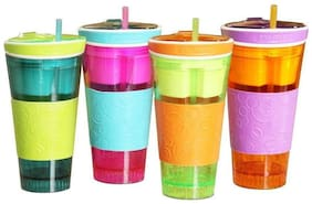 Tuelip Snackeez Multi Purpose 453.59 g (16 oz) Drink Cup & 113.39 g (4 oz) Snack Cup Travel Cups Mug Flask (Any Color)