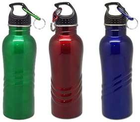 Tuelip Stainless Steel Sports Water Bottle With Sporty Look For Sports Gym Hiking 750 ml (Any2)Blue-Red-Green