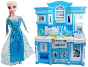 TULSI ENTERPRISE Girl's Plastic Funny Battery Operated Kitchen Play Set with Dazzling Light & Beautiful Music