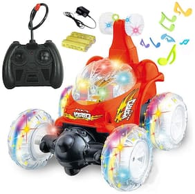 TULSI ENTERPRISE R/C Rechargeable 360 deg Twisting Stunt Car with Music and Lights for Kids (Multicolour)