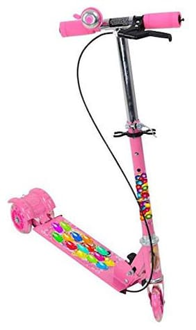 TULSI ENTERPRISE 3-Wheel Height Adjustable Folding Kick Kids Scooty Scooter Toy with Shockers and Light in Wheels (Pink)