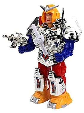 TULSI ENTERPRISE Combat Hero Robot With Music And Lights Face Changing Combat Hero Robot Moving on Wheel Robot with Sword and Gun Robotics Toy