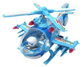 tulsi enterprise Helicopter with LED Lights On Wings and Music for Kids (Blue)