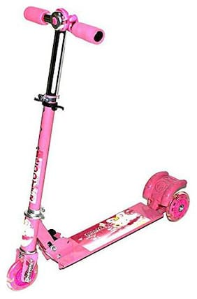 TULSI ENTERPRISE Skate Scooter for Kids with 3 Wheels and 3 Position Adjustable Height with Bell (Pink)