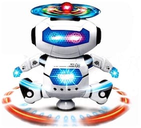 TULSI ENTERPRISE Music Robot Toy with Naughty Dancing LED Light (White)