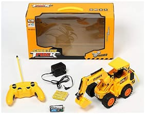 TULSI ENTERPRISE Overseas Cheetah Remote Control and LED Flash Lights JCB Plastic Truck (Yellow, Large)
