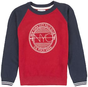 U.S. Polo Assn. Boy Cotton Colorblocked Sweater - Red