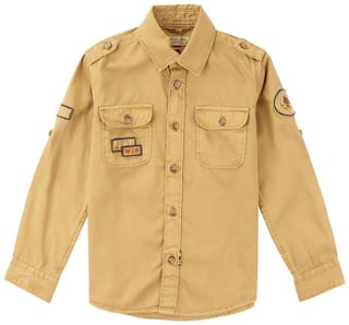 U.S. Polo Assn. Boy Cotton Solid Shirt Brown