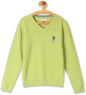 U.S. Polo Assn. Boy Wool Solid Sweater - Green