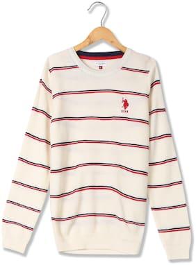 U.S. Polo Assn. Boy Acrylic Striped Sweater - White