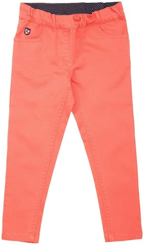 U.S. Polo Assn. Orange Cotton Girls Slim Fit Dyed Jeans