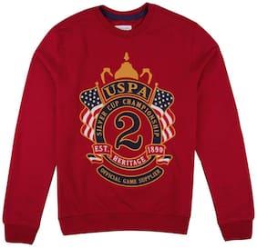 U.S. Polo Assn. Boy Cotton Printed Sweatshirt - Red