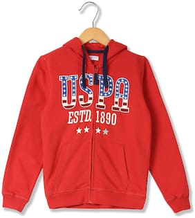 U.S. Polo Assn. Boy Cotton Printed Sweatshirt - Red