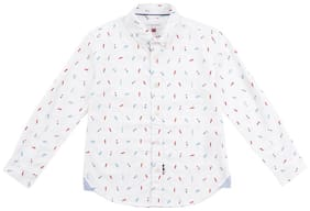U.S. Polo Assn. Boy Cotton Solid Shirt White