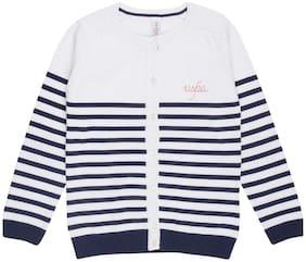 U.S. Polo Assn. Girl Cotton Striped Winter jacket - White