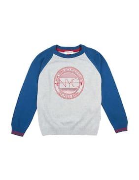 U.S. Polo Assn. Boy Cotton Printed Sweater - Grey