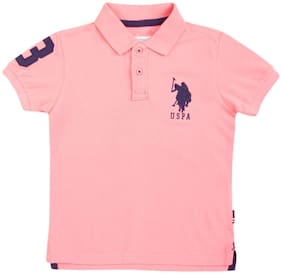 U.S. Polo Assn. Boy Cotton Solid T-shirt - Pink