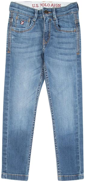 U.S. Polo Assn. Blue Cotton Boys Stone Washed Slim Fit Jeans
