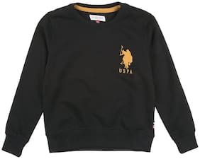U.S. Polo Assn. Boy Cotton Solid Sweatshirt - Black