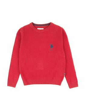 U.S. Polo Assn. Boy Wool Solid Sweater - Red