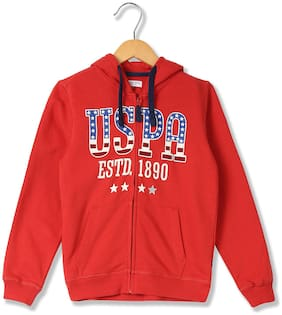 U.S. Polo Assn. Boy Cotton Printed Winter jacket - Red