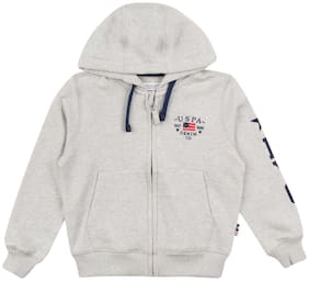 U.S. Polo Assn. Boy Cotton Solid Sweatshirt - Grey