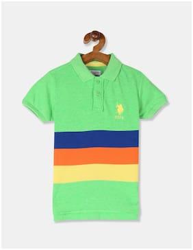 U.S. Polo Assn. Boy Cotton Striped T-shirt - Green
