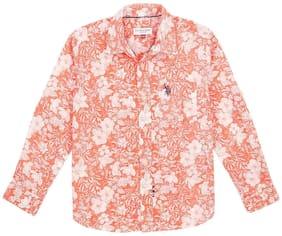 U.S. Polo Assn. Boy Cotton Printed Shirt Orange