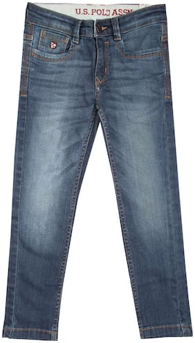 U.S. Polo Assn. Blue Cotton Boys Slim Fit Stone Wash Jeans