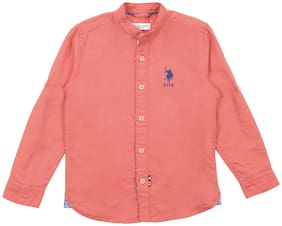 U.S. Polo Assn. Boy Cotton Solid Shirt Pink