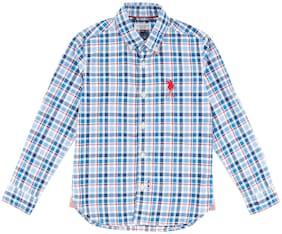U.S. Polo Assn. Boy Cotton Checked Shirt Blue