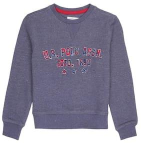 U.S. Polo Assn. Boy Cotton Solid Sweatshirt - Blue