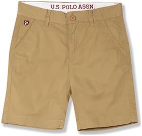 U.S. Polo Assn. Boy Solid Shorts & 3/4ths - Beige