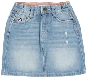 U.S. Polo Assn. Girl Cotton Solid Pencil skirt - Blue