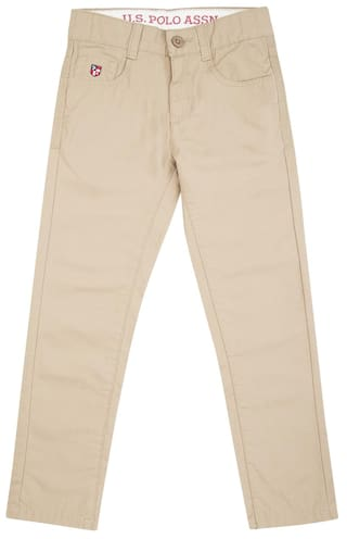 efe18bda76 Buy U.S. Polo Assn. Boy Solid Jeans - Beige Online at Low Prices in ...