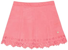 U.S. Polo Assn. Girl Polyester Solid Flared skirt - Pink