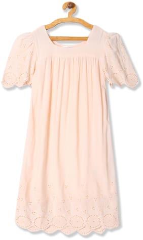 U.S. Polo Assn. Pink Viscose Short Sleeves Knee Length Princess Frock ( Pack of 1 )