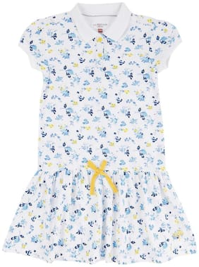 U.S. Polo Assn. White Cotton Short Sleeves Knee Length Princess Frock ( Pack of 1 )
